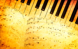Piano keyboard and music sheets in vintage style Royalty Free Stock Image