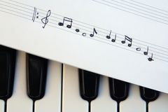 Piano keyboard and musical notes. Musical notes on a piano keyboard royalty free stock photos