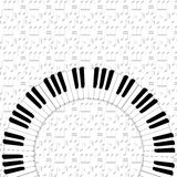 Piano keyboard on note backgorund. Piano keyboard on dimmed note backgorund Royalty Free Stock Images