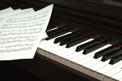 Piano keyboard and notes Royalty Free Stock Photography
