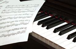 Piano keyboard and notes Stock Images