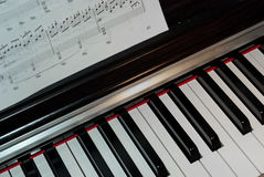 Piano keyboard and notes Royalty Free Stock Image
