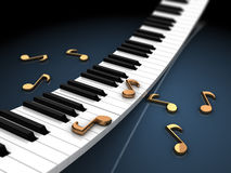 Piano keyboard and notes. Abstract 3d illustration of piano keys and notes, over black background Royalty Free Stock Image