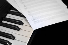 Piano keyboard with notes Royalty Free Stock Images