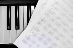 Piano keyboard with notes Royalty Free Stock Photo