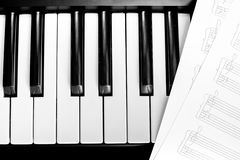Piano keyboard with notes Royalty Free Stock Photos