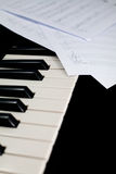 Piano keyboard with notes Stock Photos