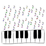 Piano keyboard with notes, colored Royalty Free Stock Photo
