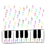 Piano keyboard with notes, colored Stock Photo
