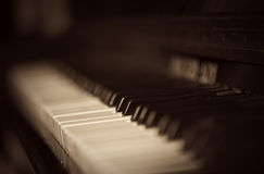 Piano keyboard. The old piano keyboard in monohrome shades Royalty Free Stock Images