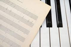 Piano keyboard with old music score Royalty Free Stock Images