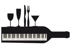 Piano keyboard and party Royalty Free Stock Photos