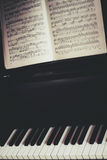 Piano keyboard and piano score Royalty Free Stock Image
