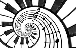 Piano keyboard printed music abstract fractal spiral pattern background. Black and white piano keys round spiral. Spiral stair. Pi Royalty Free Stock Photography