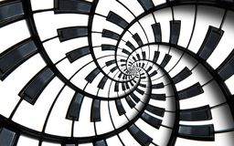 Piano keyboard printed music abstract fractal spiral pattern background. Black and white piano round spiral. Spiral stair effect. royalty free illustration
