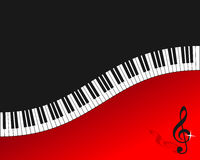 Piano Keyboard Red Background. Wavy piano keyboard red background. Eps file available Stock Photography