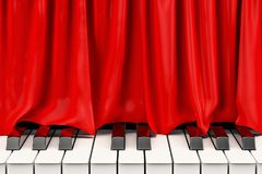 Piano keyboard with red curtain, music concert concept. 3D rende Stock Image