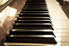 Piano keyboard, sepia color. Stock Photo