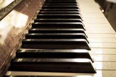 Piano keyboard, sepia color. Stock Photo