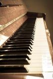 Piano keyboard, sepia color. Royalty Free Stock Image