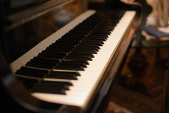 Piano keyboard with shallow depth of field focus. Piano keyboard with shallow depth Stock Photos