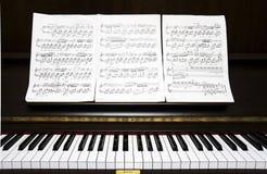 Piano keyboard and sheel music stock photos