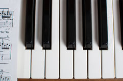 Piano keyboard and sheet music Royalty Free Stock Images