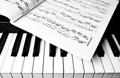 Piano Keyboard and sheet music. Black and white of piano keyboard with sheet music stock images