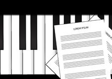 Piano keyboard and sheet music background Stock Image