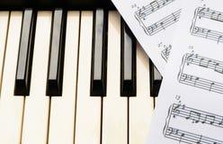 Piano keyboard and sheetmusic Stock Image