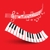 Piano Keyboard with Staff on Red Background. Royalty Free Stock Photo