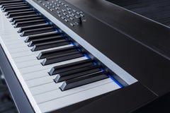 Piano Keyboard synthesizer closeup key frontal view Royalty Free Stock Photo
