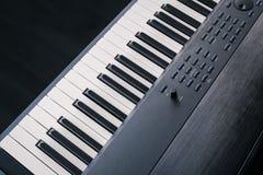 Piano Keyboard synthesizer closeup key top view Stock Photography