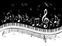 Piano Keyboard With Music Notes Royalty Free Stock Photo