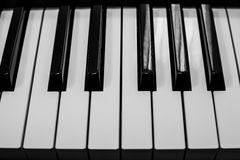 Piano keyboards black and white closeup | classic musical instrument | music entertainment Royalty Free Stock Photos