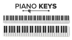 Piano Keyboards Vector. Isolated Illustration. Top View Keyboard Pad. Piano Keyboard Vector. Realistic Isolated Illustration. Musical Piano Key Top View Stock Image