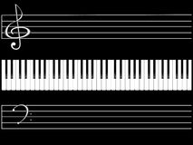 Piano keys. The piano keyboard on black background Royalty Free Stock Photos