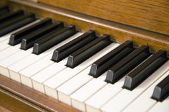 Piano Keys. Piano keyboard with selective focus on the middle keys Stock Photography