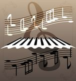 Piano keys. On an abstract background of a piano keys, notes and a large treble clef Stock Photography