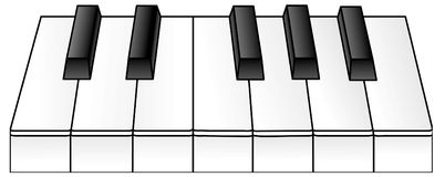 Piano Keys. A view of piano keys Royalty Free Stock Photo