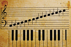 Piano keys. Old vintage piano keys texture music background Stock Images