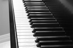 Piano Keys. Detail of piano keys in grayscale Royalty Free Stock Images