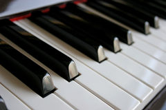 Piano Keys. View of piano keys from a side angle Stock Photo