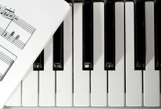 Piano keys. With published music Royalty Free Stock Photo