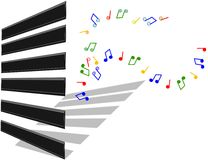 Piano keys. With musical notes illustration in 3d Royalty Free Stock Photography