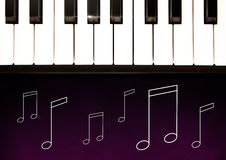 Piano keys against purple background with music note illustrations Stock Images