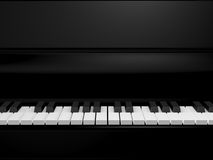 Piano Keys. On black grand piano, front view Stock Photo