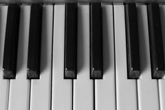 Piano keys. Black and white photo royalty free stock images