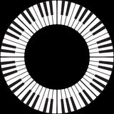 Piano keys in a circle. Piano keys in an O ring circle isolated on black Stock Photography