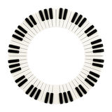Piano keys circle, 3d. Empty circle made of black and white the piano keys, 3d illustratration stock illustration